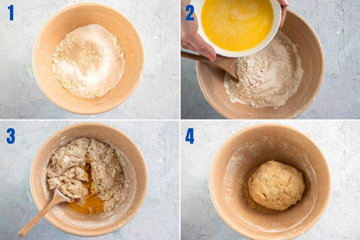 Collage of 4 images showing the first steps in making cinnamon scrolls - mixing the dough ingredients together