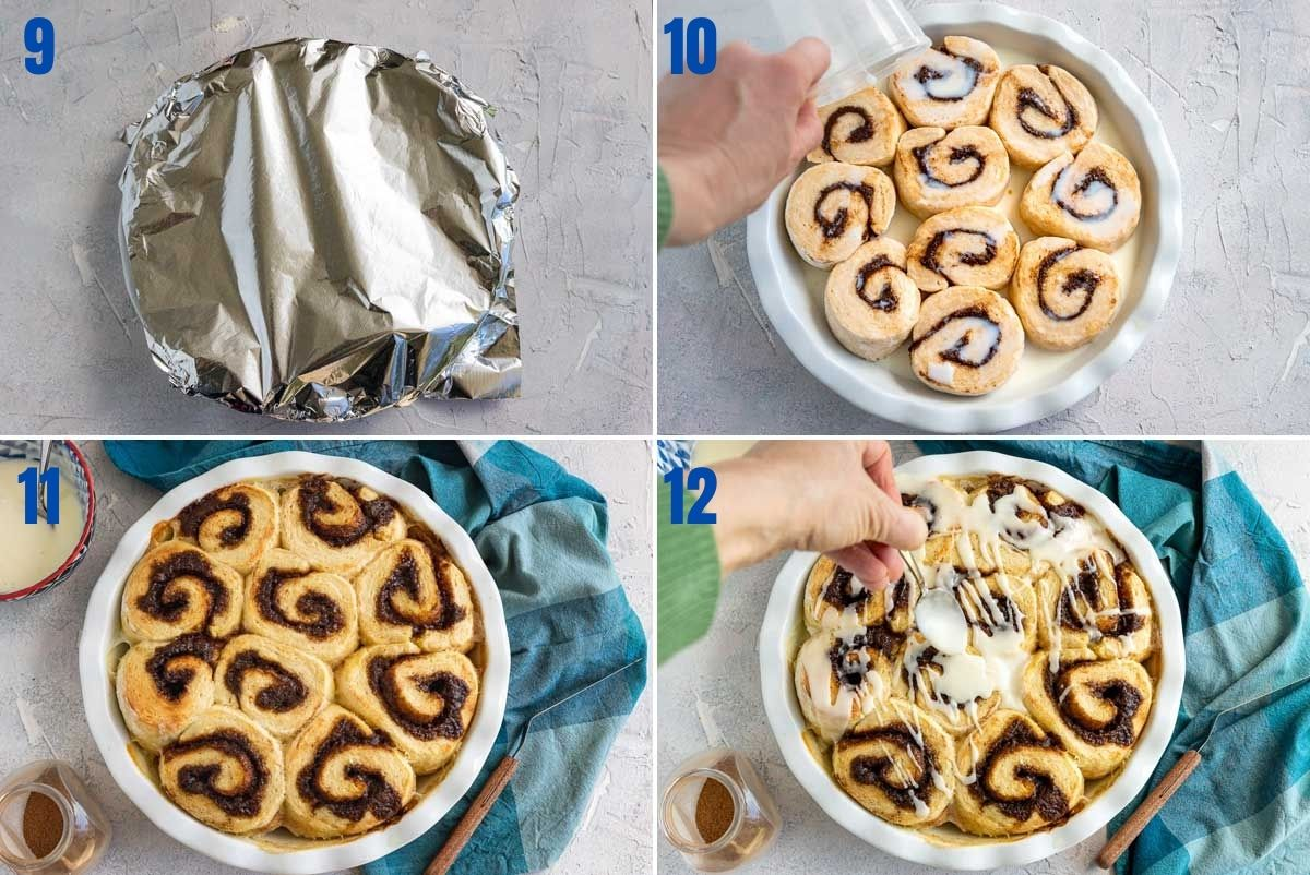 Collage of 4 images showing how to cover cinnamon scrolls while rising, pour liquid over before baking, after baking and drizzling over the icing