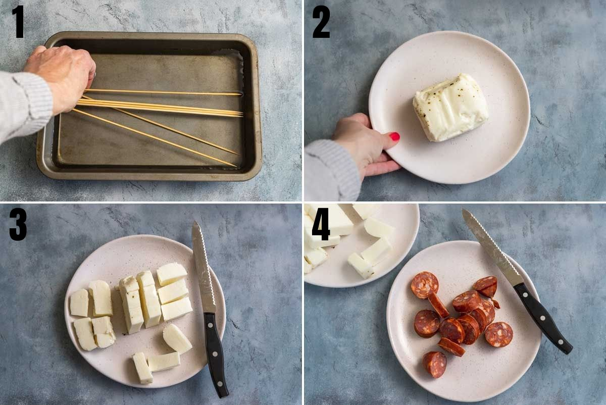 Collage of 4 images showing how to make halloumi skewers