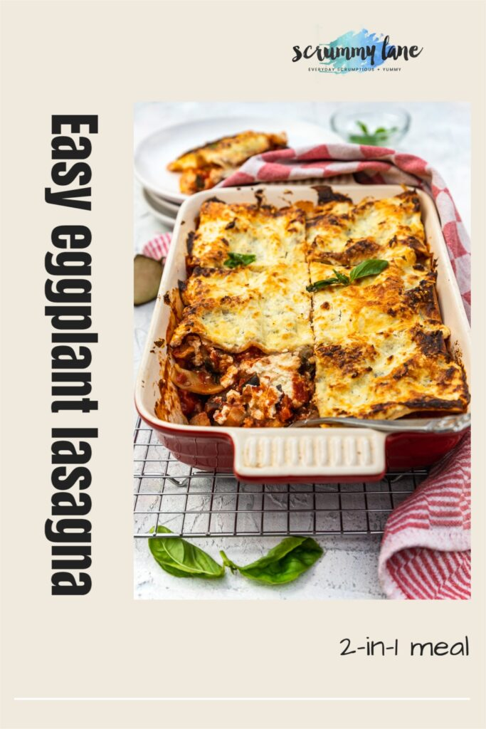 A baking dish of eggplant on a cooking rack and with a red and white tea towel in the foreground and with a title on it for Pinterest