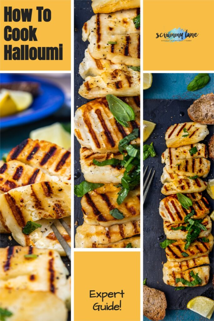 collage of images of cooked halloumi on a yellow background with title on it for Pinterest that says how to cook halloumi expert guide