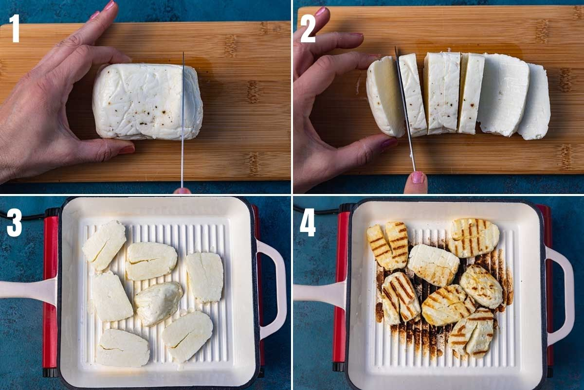 collage of 4 images showing how to pan-fry halloumi cheese - slicing the halloumi into 7 slices, placing it in the grill pan and grilled with dark brown lines on it