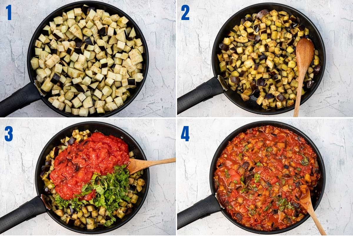 collage of images showing how to make an eggplant sauce for an eggplant lasagna