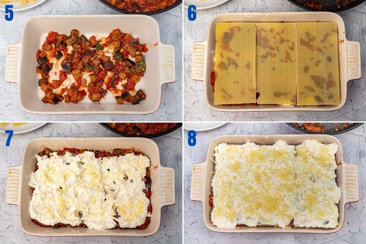 collage of 4 images showing how to layer an eggplant lasagna