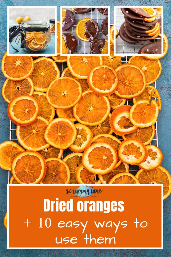 collage of 4 images with a big one of dried orange slices from above and 3 showing dried orange slices ready to give as a gift and with a title on it for Pinterest