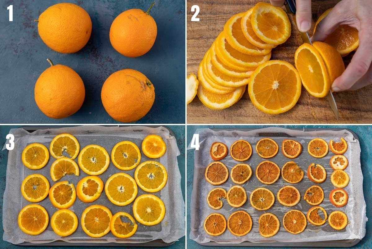 collage of 4 images showing how to make dried orange slices. Image 1 shows 4 oranges on a blue surface, image 2 shows someone slicing the oranges thinly with a sharp knife, image 3 shows the slices on a baking tray and image 4 shows the finished dried oranges on a baking tray