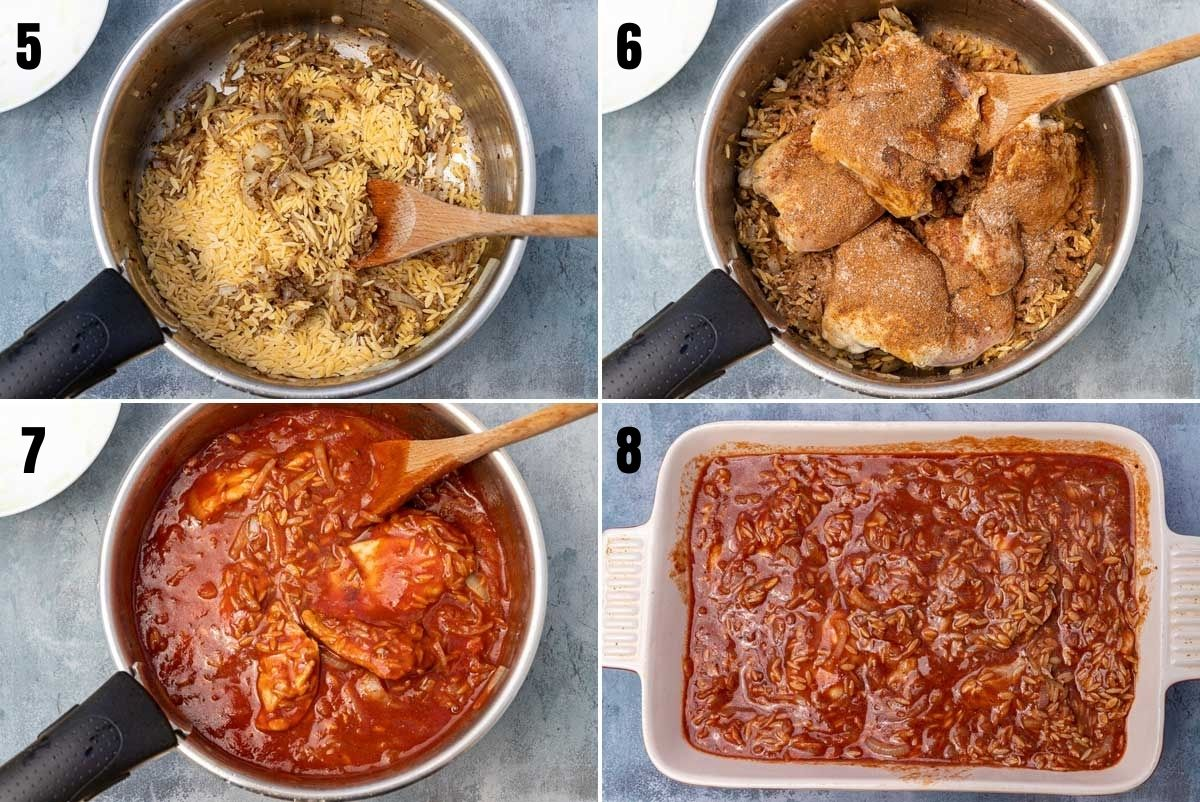 collage of 4 images showing second part of making giouvetsi with chicken including adding spices, pouring over tomato passata and getting ready to bake