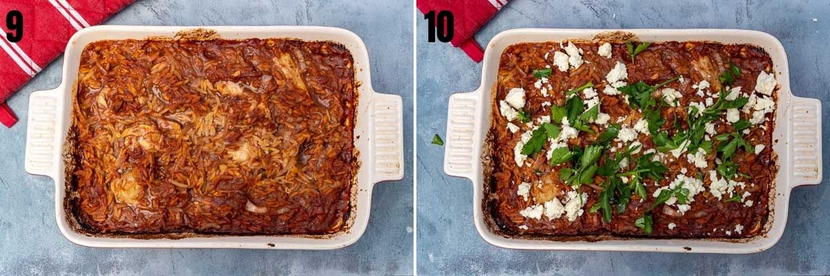 collage of 2 images showing giouvetsi with chicken in a baking dish overhead before and after baking