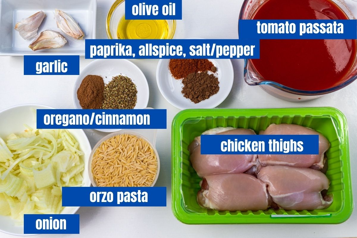 A labelled image of the ingredients needed to make giouvetsi with chicken including garlic, olive oil, chicken thighs, herbs and spices, tomato passata, onion and orzo pasta